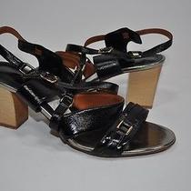 Lanvin 'Ete 2008' Black Leather Wood Heel Sandal Sz39 Photo
