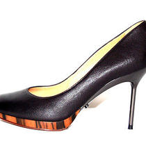 Lanvin Ete 2011 Black Leather Wood Platform Metal Heel Pumps 38 Photo