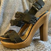 Lanvin Ete  Black Leather Strappy Heels Sz 38 7.5 Excellent Condition Photo