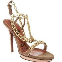 Lanvin Gold Chain and Beige Leather Suede Platform Cage Sandals Pumps 39.5 9 Photo