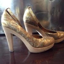 Lanvin Gold Fabric Brocade Wood Heel Shoes Photo