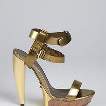 Lanvin Gold Leather Double Strapped Lacquered Heel Sandals sz38.5 New Photo