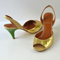 Lanvin Gold Leather & Green Lacquer Slingback Heels 38.5 - 8 Us Photo