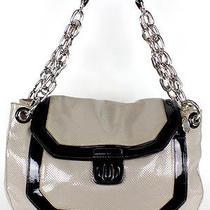 Lanvin Gray & Black Perforated Patent Chain Strap Xl Hobo Bag Photo