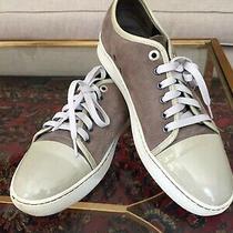 Lanvin Gray Suede Calfskin Lowtop Designer Sneakers Eu 45 Us 10.5 Photo