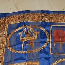 Lanvin Hand Rolled Silk Scarf Antique Chairs Rare 1980s Euc  Photo