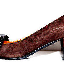 Lanvin Hiver 2011 Brown Suede Bow Detail Jeweled Heels Pumps 38 Photo