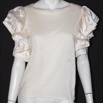 Lanvin Ivory Cotton Jersey Satin Ruffled Sleeve Top S Photo