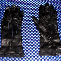Lanvin Lambskin Silk Size 7 Leather Gloves Black Stylish Authentic Photo