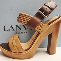 Lanvin Leather Chunky Wood Heel Platform Pumps Sandals Shoes 36.5 Photo