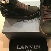 Lanvin Mens Pre Owned Blue/grey Checkerboard Suede Sneakers Size 7 With Box Photo