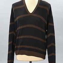 Lanvin Men Silk & Cotton Honeycom Stripes v Neck Sweater Oversised Photo