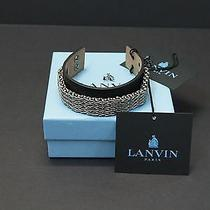 Lanvin Men/unisex Silver & Black Leather Chainmail Bracelet New Nwb 460 Photo