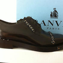 Lanvin Metal Chain Rings Embellished Black Leather Derby Shoes 9 43 Ss14 Rrp905 Photo