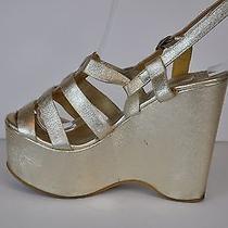 Lanvin Metallic Gold Lamb Leather Wedge Creeper Sandals Platform Shoes Sz 36 Photo