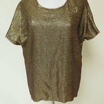 Lanvin Metallic Short Sleeve Blouse Gold Size 40 Gently Worn Photo