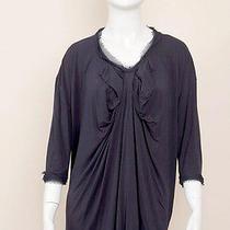 Lanvin Navy Blue Knit Jersey Silk Short Sleeve Dress T Shirt Tee Top Blouse M/l Photo