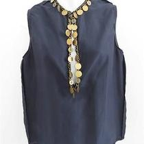 Lanvin Navy Blue Silk Blend Sleeveless Top/shirt W/ Coin Embellishment Size 36 Photo