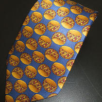 Lanvin Neck Tie Necktie 100% Silk Mens Gold Ruby Ring Print Classic Italy Mens Photo