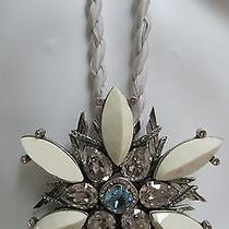 Lanvin  Necklace  Flower Pendant Jeweled  Crystal Clear and Blue stones.france Photo