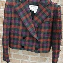 Lanvin Paris 38 6 Cropped Wool Purple Green Red Plaid Blazer Jacket Coat Eeuc Photo