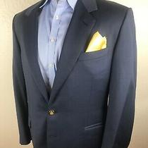 Lanvin Paris Blue Blazer 42 R Made in Italy 100% Wool Metal Buttons Recent Label Photo