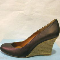 Lanvin Paris Classic Bronze Espadrille Wedge Pumps Shoes 95mm 40 10 595 Photo