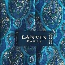 Lanvin Paris Dark Colours  With Green Motifs Soie /silk Tie Made in France Photo
