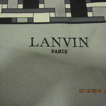 Lanvin Paris Gray & Black Silk Womens Scarf Photo