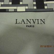 Lanvin Paris Gray & Black Silk Womens Scarf Photo