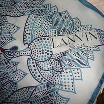 Lanvin Paris Hand Rolled 100% Silk Scarf Guinea Hen Decor Fowl Bird Chicken Photo