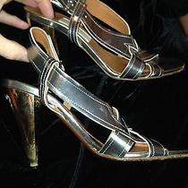 Lanvin Paris Holiday Silver Mirror Metallic Gold Heel Shoe 39 1/2 9.5 Holiday Photo