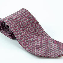Lanvin Paris Pure Silk Necktie Made in Italy Red With Allover Pattern Photo
