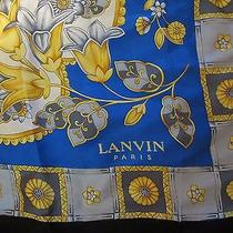 Lanvin Paris Stunning Floral Gold & Blue 100% Silk Chiffon /satin Scarf 33 X 33 Photo