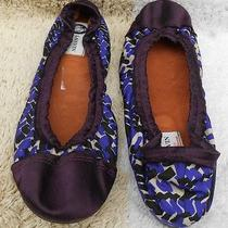 Lanvin Plum Violet Purple Satin Beige Fabric Scrunch Ballet Flats Ballerinas 40 Photo