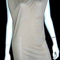 Lanvin Puff-Shoulder Taupe Jersey Sleeveless Dress M Photo