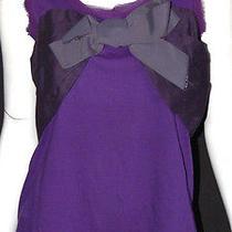 Lanvin Purple Jersey Grosgrain Bow Detail Sleeveless Top S Photo