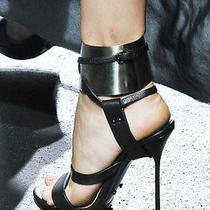 Lanvin Rare Spring 11 Gold Metal Cuff Bracelet Black High Heel Sandals 39 Uk 6 Photo