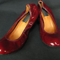 Lanvin Red Patent Leather Womens Pumps Low Heel Shoes Size 41 10.5 Photo