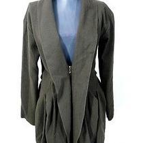 Lanvin River 2009 Green Ruffle Pleated Wool Long Jacket Coat 34 Photo