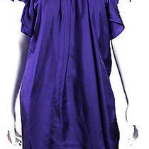 Lanvin Royal Purple Silk Satin Ruffle Sleeve Shift Dress M Photo