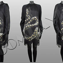 Lanvin Rp3450 Black Silk Crepe Double Layered Snake Print Shift Dress Fr40 Us8 Photo