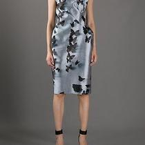 Lanvin Rp3500 Silver Butterfly-Print Duchesse Dress Fr36 Us4 Photo