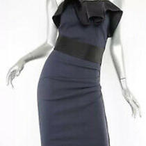 Lanvin Ruffle Cocktail Dress Blue With Black Trim. See Listing for Sizing Photo