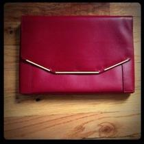 Lanvin Runway Miss Sartorial Petrol Leather Envelope Wristlet Clutch Bag Red Photo