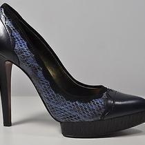 Lanvin Scalloped Snakeskin Leather Pumps Dark Blue Size 38.5/8 or 7.5 Photo
