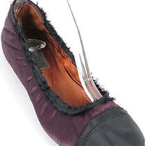 Lanvin Shoes - Purple Satin Cap Toe Scrunch Ballerina Flats Photo
