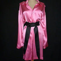 Lanvin Silk Hot Pink Satin Shift W/loose Black Belt Long Sleeve  38 Med        Photo