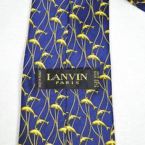 Lanvin Silk Navy Blue With Yellow Dolphin Print Necktie Photo