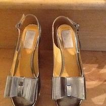 Lanvin Silver Bow Wood Heels Photo